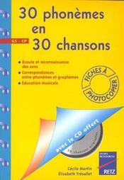 30 phonèmes en 30 chansons ; apprentissage des phonèmes ; grandes sections et cours préparatoires - Intérieur - Format classique
