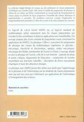 La Physique Avec Maple Physique Chimie Fractales Et Chaos 1re Et 2e Annees Mp-Pc-Psi-Pt Cours Exerc. - 4ème de couverture - Format classique