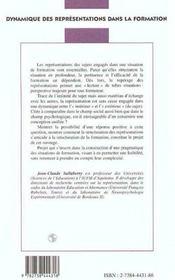 Dynamique des représentations dans la formation - 4ème de couverture - Format classique