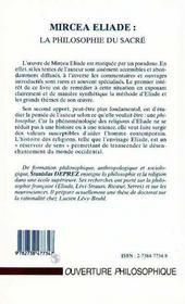 Mircea Eliade : La Philosophie Du Sacre - 4ème de couverture - Format classique