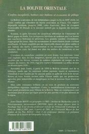 La Bolivie Orientale ; Confins Inexplores ; Battues Aux Indiens Et Economie De Pillage - 4ème de couverture - Format classique