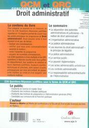 Qcm et qcr droit administratif - 4ème de couverture - Format classique