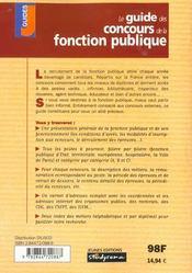 Guide des concours de la fonction publique ; edition 2001-2002 - 4ème de couverture - Format classique