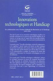Innovations Technologiques Et Handicap - 4ème de couverture - Format classique