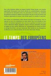 Le Temps Des Europeens - 4ème de couverture - Format classique