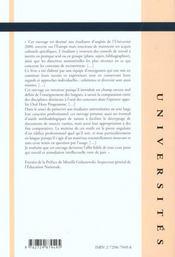 Comment Reussir A L'Universite 2000 En 3-5-8 Ans Methodologie Des Epreuves D'Anglais - 4ème de couverture - Format classique