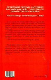 Dictionnaire français-cap verdien, créole de santiago - 4ème de couverture - Format classique