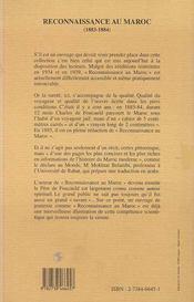 Reconnaissance Au Maroc, 1883-1884 - 4ème de couverture - Format classique