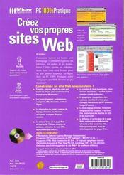 Pc 100% prat. creez vos sites web - 4ème de couverture - Format classique