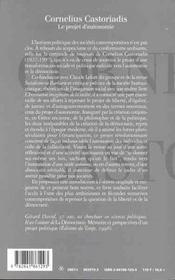 Castoriadis cornelius - 4ème de couverture - Format classique