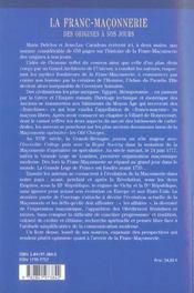 La franc-maconnerie, des origines a nos jours - 4ème de couverture - Format classique