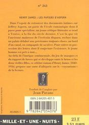 Les papiers d'Aspern - 4ème de couverture - Format classique