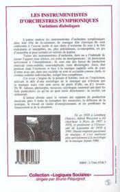 Les Instrumentistes D'Orchestres Symphoniques : Variations Diaboliques - 4ème de couverture - Format classique