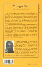 Mongo Beti ; La Quete De La Liberte - 4ème de couverture - Format classique
