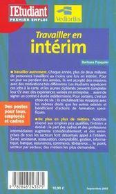 Travailler en interim - 4ème de couverture - Format classique