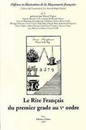 Le rite français du premier grade au V ordre - Couverture - Format classique