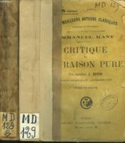 Critique De La Raison Pure. En 2 Tomes. - Couverture - Format classique