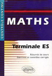 Controle Continu ; Mathématiques ; Terminale Es - Couverture - Format classique