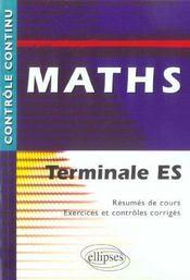 Controle Continu ; Mathématiques ; Terminale Es - Intérieur - Format classique