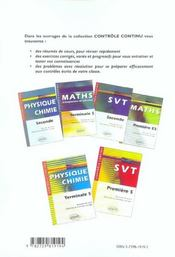 Controle Continu ; Mathématiques ; Terminale Es - 4ème de couverture - Format classique