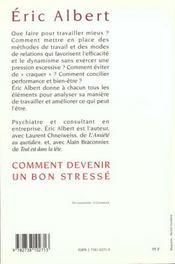 Comment Devenir Un Bon Stresse - 4ème de couverture - Format classique