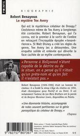 Le mystère Tex Avery - 4ème de couverture - Format classique