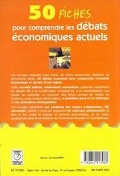 50 fiches pour comprendre les debats economiques actuels - 4ème de couverture - Format classique