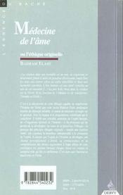 Medecine De L'Ame - 4ème de couverture - Format classique