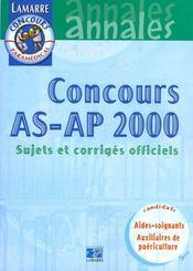 Concours As/Ap 2000 - Sujets Officiels Corriges - Intérieur - Format classique