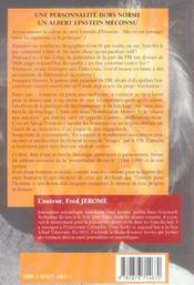 Einstein, Un Traitre Pour Le Fbi ; Les Secrets D'Un Conflit - 4ème de couverture - Format classique