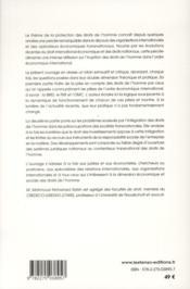 L'irruption des droits de l'homme dans l'ordre économique international : mythe ou réalité ? - 4ème de couverture - Format classique