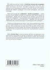 Les Droit Des Animaux De Compagnie - 4ème de couverture - Format classique