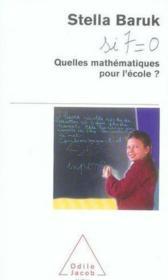 Quelles mathématiques pour l'école ? - Couverture - Format classique