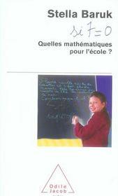 Quelles mathématiques pour l'école ? - Intérieur - Format classique