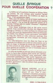 Quelle Afrique Pour Quelle Cooperation ; Mythologie De L'Aide Francaise - 4ème de couverture - Format classique
