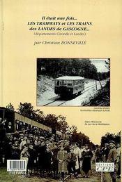 Tramways Et Trains Des Landes De Gascogne - 4ème de couverture - Format classique