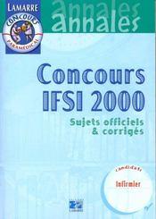 Concours ifsi 1999/2000 - sujets officiels corriges - Intérieur - Format classique