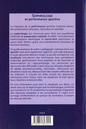 Sophrologie et performance sportive - 4ème de couverture - Format classique
