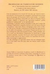 Archeologie De L'Agriculture Moderne - 4ème de couverture - Format classique