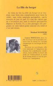 La Fille Du Berger - 4ème de couverture - Format classique