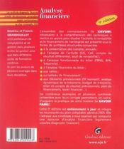 Zoom'S Analyse Financiere 9eme - 4ème de couverture - Format classique