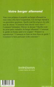 Votre Berger Allemand - 4ème de couverture - Format classique