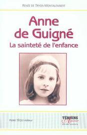 Anne De Guigne - La Saintete De L'Enfance - Intérieur - Format classique