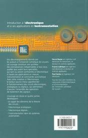 Introduction a l'electronique et a ses applications en instrumentation - 4ème de couverture - Format classique