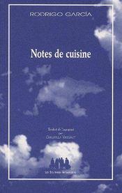 Notes de cuisine - Couverture - Format classique