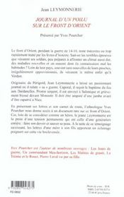 Temoignage D'Un Poilu Sur Le Front D'Orient - 4ème de couverture - Format classique