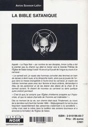 La bible satanique - 4ème de couverture - Format classique