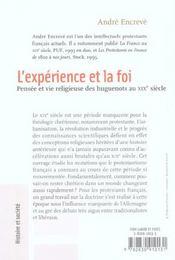 L'Experience Et La Foi - 4ème de couverture - Format classique