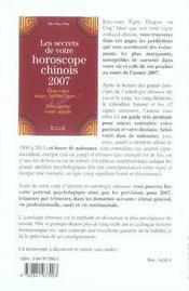 Les secrets de votre horoscope chinois 2007 - 4ème de couverture - Format classique