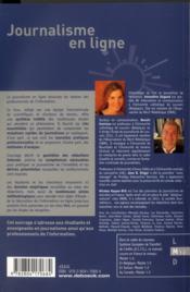 Journalisme en ligne ; pratiques et recherches - 4ème de couverture - Format classique